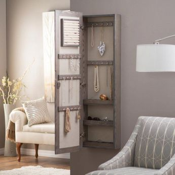 Wall Mounted Locking Mirrored Jewelry Armoire - Driftwood - With its simple, natural beauty, the Wall Mounted Jewelry Armoire & Mirror - Driftwood helps to make a relaxed atmosphere in your home,... #rusticjewelryarmoireetsy