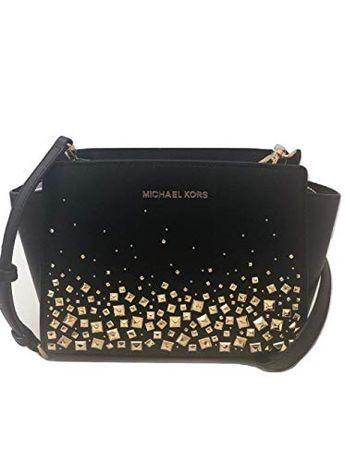 3c827f2038f5 MICHAEL Michael Kors Selma Stud Medium Messenger Leather Crossbody Handbag  Purse
