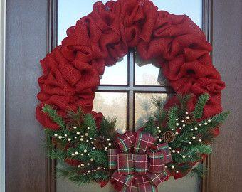 burlap christmas wreath etsy - Burlap Christmas Wreaths