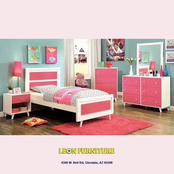 Alivia -Pink/White- 5PC Twin Bedroom Collection