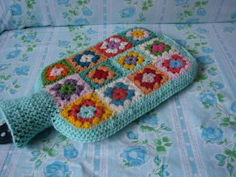 Hot Water Bottle Cover Granny Square - gorgeous spring colours. Made to order.