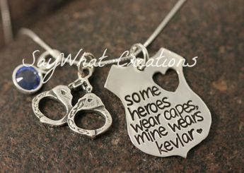 """Necklace """"some heroes wear capes, mine wears kevlar"""" For Police Wife Law Enforcement Wives Girlfriends"""