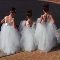 Cute V Back White Tulle Flower Girl Dresses from dressydances