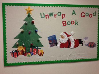 Christmas bulletin board. Unwrap a good book!! LOVE this!