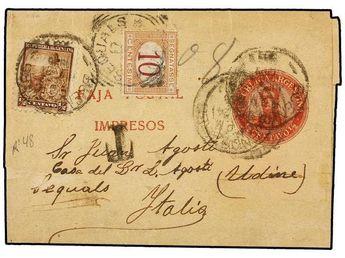 ARGENTINA. 1875-1906. Tres sobres tasados con sellos ITALIANOS.  Dealer SOLER Y LLACH  Auction Minimum Bid: 175.00EUR
