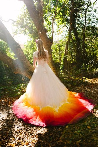 PHOENIX Dip dye Ombre Wedding Dress silk and tulle with lace detail Autumn Fire colours Ivory Red Or