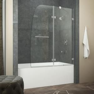 ANZZI HERALD Series 48 in. x 58 in. Frameless Hinged Tub Door in Chrome with Towel Bar Handle-SD-AZ11-01CH