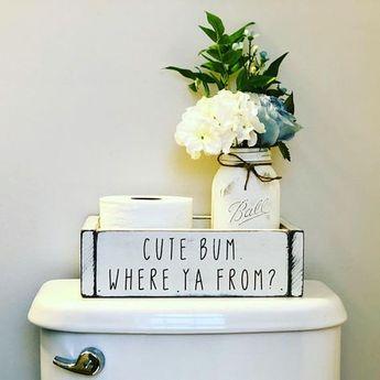 Bathroom Decor, Bathroom Organizer Storage Box- Cute Bum Where Ya From (Bathroom decor, bathroom humor, bathroom sign, bathroom decoration)
