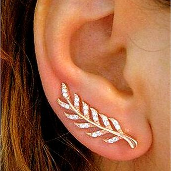 Women's Cubic Zirconia Stud Earrings Ear Climbers Climber Earrings Earrings Leaf Ladies Simple Vintage Fashion Elegant Bling Bling Jewelry Gold / Silver / Rose Gold For Wedding Daily Masquerade