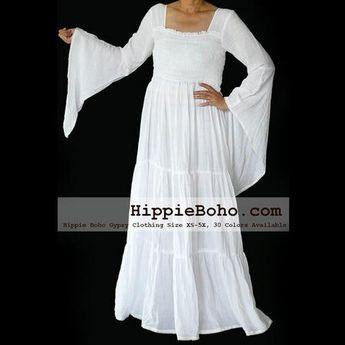 107c2740170 No.099 - Size XS-7X Hippie Boho Bohemian Gypsy White Long Sleeve Plus