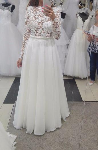 cdb852f510 Suknie - Suknia ślubna z rękawami i odkrytymi plecami IVORY