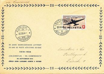 Switzerland 20. 9. 44, lot from 6 different stages the Jubiläumsflüge 25 years Swiss airmail, in perfect condition.  Dealer Honegger Michael Auction  Auction Minimum Bid: 60.00CHF