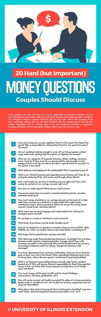 20 Hard (but Important) Money Questions Couples Should Discuss #finances #planning