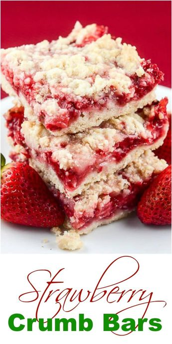 These easy Strawberry Crumb Bars, with a buttery crust, sweet fresh strawberry filling, and crunchy butter crumb topping make wonderful dessert bars for an afternoon snack, or to take to a summer party, picnic, or potluck. #Strawberry #StrawberryBars #StrawberryCrumbBars