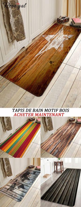Nouveautés des Tapis de Bain Motif Bois pour la Salle de Bain #Rosegal #tapis #bois #décoration