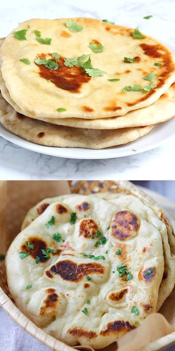 Naan - easy homemade naan recipe using a cast-iron skillet. Soft, puffy, with beautiful brown blisters just like Indian restaurants. Making naan is easy with this step-by-step recipe and video | rasamalaysia.com #naan