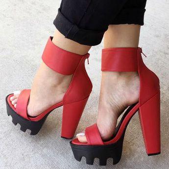 Ankle Strap Lug Sole Platform Heels