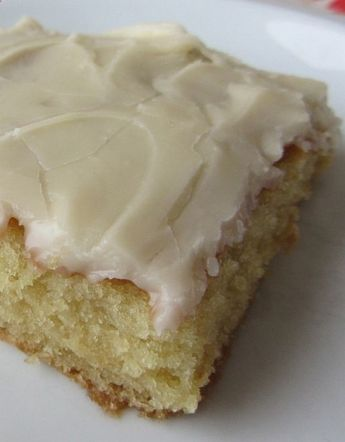 White Texas Sheet Cake. It is cake flavored. Stop for a second and imagine the flavor birthday cake and that is what this is. And the frosting is like the most incredible vanilla fudge with a rich hint of milk. Its bliss. Seriously, best cake ever. - Foodiez