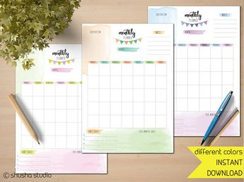 Printable Monthly Planner Inserts, Monthly Bullet Journal planning, Instant Download