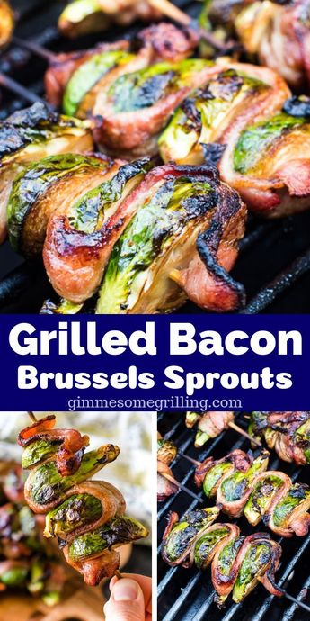Looking for an easy grilled side dish? These Grilled Bacon Wrapped Brussels Sprouts are what you want! #gimmesomegrilling #balsamic #skewer #skewers #kebabs #kabobs #bacon #recipe #grill #grilling #grillingrecipe
