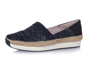 40537cb5f13f Butterfly Twists Maya Black Glitter Espadrille Memory Foam Flat Shoes