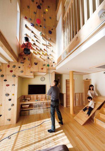 埼玉で木の家を建てるなら、自然素材、全館空調、外断熱の健康住宅:アップルホーム - 施工例 - ボルダリングに滑り台。子どもの成長を日々実感!家族の愛を育む家