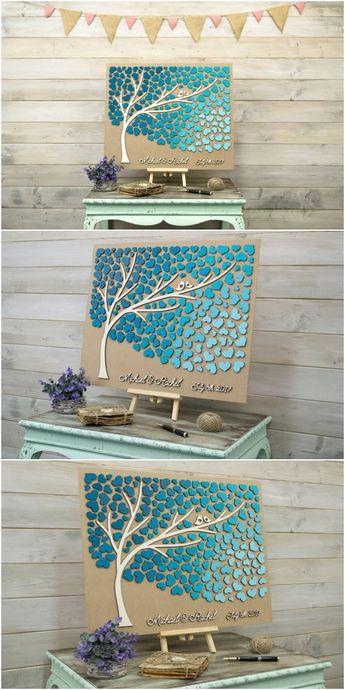 Custom guest book, Rustic guestbook, 3D Guest book, Unique guest book, Wooden guestbook, Wedding guest book ideas, Teal wedding color