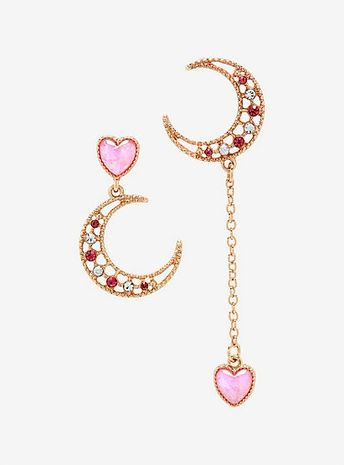Pink Moon & Hearts Mismatch EarringsPink Moon & Hearts Mismatch Earrings,