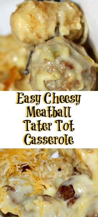 This easy Meatball Tater Tot Casserole is sure to be a casserole that your family will love! Perfect for a quick dinner on a busy weeknight. #meatballs #tatertots #tatertotcasserole