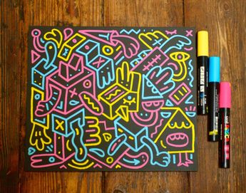 POSCA pens on blackboard produce a nice neon effect.