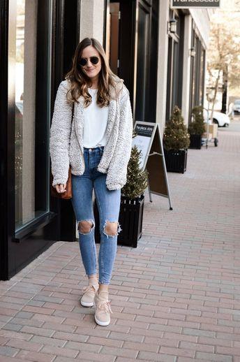 Fleece Jacket and Blush Sneakers