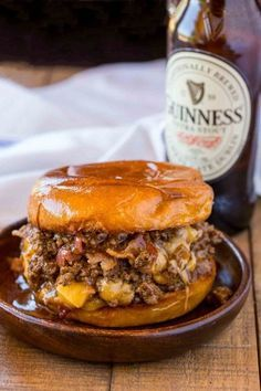 Bacon, Beer and Cheese Sloppy Joes are the perfect gameday food for a crowd with a Guinness sauce and sharp cheddar cheese filling. #bacon #beer #cheese #sloppyjoes #dinnerthendessert #weeknightmeals #gameday