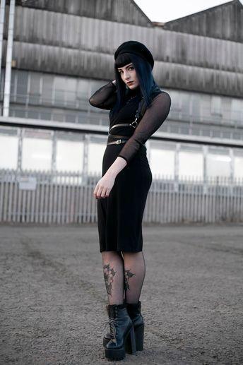 OOTD #nugoth #ootd #alternative #alternativegirl #bodyharness #harness #legtattoos #girlswithtattoos #beret #mesh #bluehair #blueombre #grunge #alternativefashion #goth #nugothfashion #nugothaesthetic #layers #styleinspiration #outfitinspiration