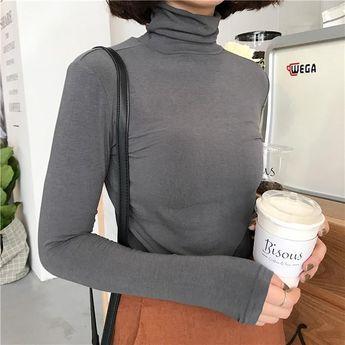 09af9b8d4e3d95 Turtle neck basic long sleeve colorful slim flat knit blouses