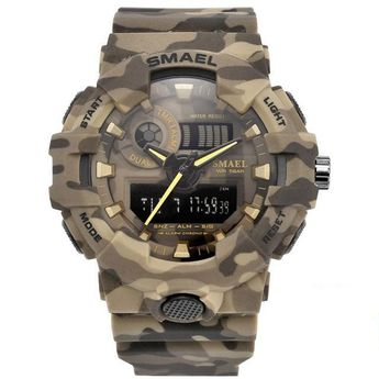 """When combat personnel asked, we listened. They requested a rugged and durable, water–resistant hardened military watch and the SMAEL Hardened Shock Watch  fits that description perfectly. This popular watch, designed by SMAEL, can withstand service under the most extreme conditions. Whether you are out for another night on the town or in the middle of battlefield combat, the SMAEL Special Ops """"PREDATOR"""" Watch is all grit!  Let the SMAEL Hardened Shock Watch provide a bold and powerful statement"""
