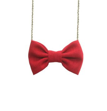 fcd02ae05d1f02 Red Linen - Bow Tie Necklace Women Bowtie, Bridesmaids Accessory