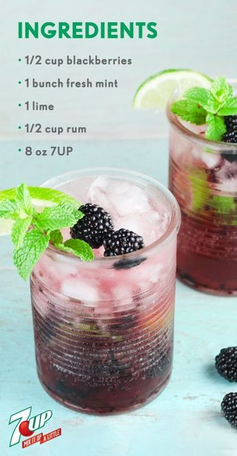 When it comes to summer cocktails, this Blackberry Mojito is practically ready for the porch swing or outdoor party! Fresh mint, blackberries, lime, rum, and 7UP®️️️️ all help make this boozy beverage as refreshing as it is. Make a large batch of this fruity recipe so all your friends can enjoy this fizzy drink—and since you can pick up all the ingredients you need at Walmart, that just got a lot easier.