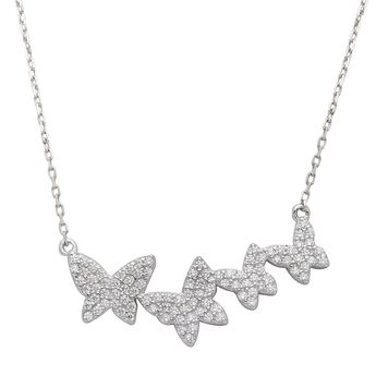 Zoe Lev Jewelry Butterflies Necklace - Yellow Gold Vermeil