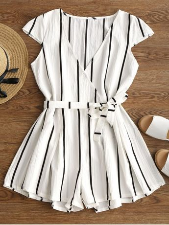 Plunging Neck Striped Belted Romper - WHITE M