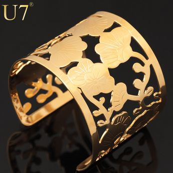 U7 Big Cuff Bracelets For Women Trendy Gold Plated Round Jewelry Hollow Design Wide Bangles Bracelets H358