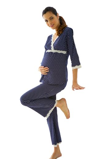 918d4ddb9549a Dottie Lace Trim Maternity And Nursing Pajama Lounge Set by Belabumbum |  Nursing Apparel available at