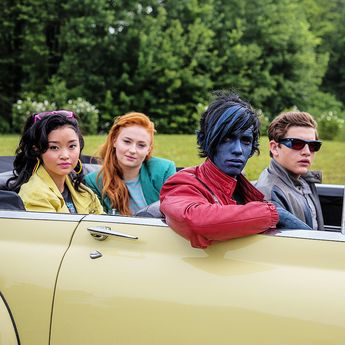 Lana Condor, Sophie Turner, Kodi Smit-McPhee and Tye Sheridan on set for X-Men: Apocalypse.