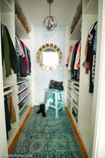 Small Walk-in Closet Makeover Reveal {with Ikea Pax & Removable Wallpaper