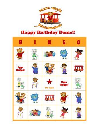 Daniel Tigers Neighborhood Personalized Birthday Party Game Bingo Cards