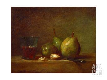 Pears, Walnuts and Glass of WineBy Jean-Baptiste Simeon Chardin