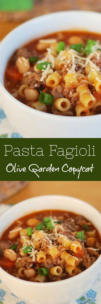 Pasta Fagioli - Olive Garden copycat recipe. This hearty soup is filled with Italian sausage, pasta, and beans.