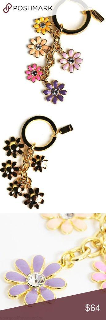 587e0155aeda NWT Coach Daisy Flower Multi Mix Crystal Keychain 100% Guaranteed COACH  JEWELED Floral MULTI MIX