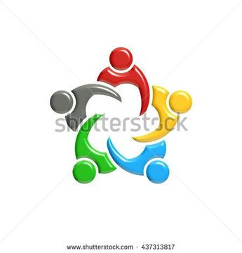 People Group Teamwork Logo. 3D Rendering illustration