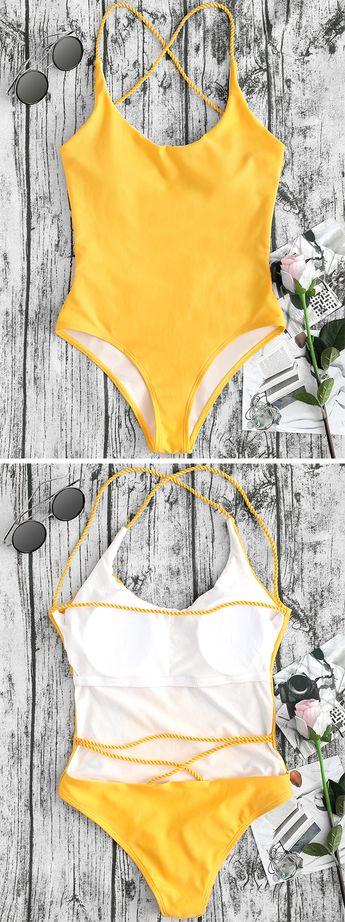 10b6596bdb24a3 Yellow Floral Print Knot Front Bikini Top And High Waist B