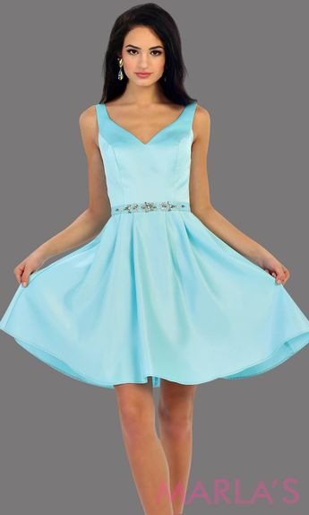 c32c047122 1477-Short v neck taffeta aqua grade 8 grad dress with rhinestone belt.  Perfect